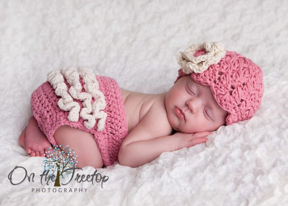 Rose Pink with Cream Ears Photo props 0 to 1 Months Baby Girl Flapper Hat Baby Shower Gift NEWBORN  Baby Girl Hat Kids Cream Bow