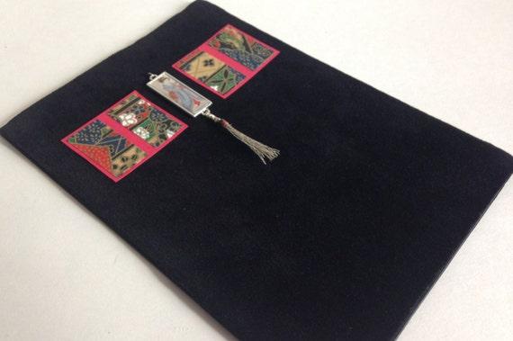Black Velvet Fabric Japanese Geisha Silver Charm Greeting Card 5 x 7