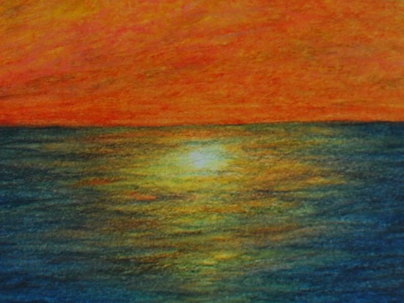 Original Artwork Sunset Over The Sea Greeting Card 5 x 7