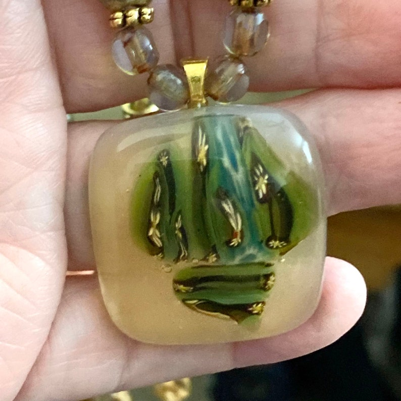 Natural Colored Oil Spill Fused Glass Necklace