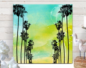 Palm Tree Art, Canvas Art, Tropical Decor, Beach Decor, Beach art, Cottage Decor, Coastal Decor, Island Decor, Canvas Print, 12x12 art