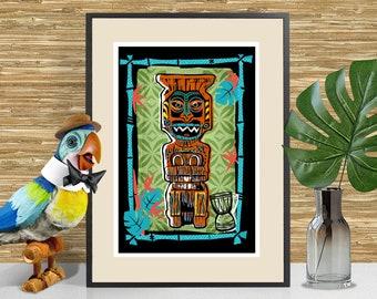 Koro - Enchanted Tiki Room inspired Art Print, Tiki Bar Decor, Disneyland Tiki, Adventureland themed poster, Tiki Art, Tropical Decor