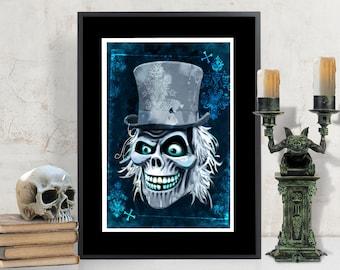 Hatbox Ghost, Disneyland Haunted Mansion Art Print, Gothic Holloween Art, Disneyland Fan Art, Hatbox Ghost Print