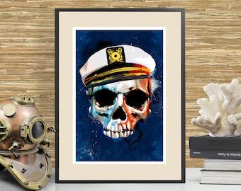 Nautical Skull Art Print, Beach House Nautical themed Home Decor, Skull Painting, Nautical Tiki Art, Tiki Decor, Sailing art, Skull poster