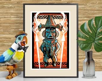 Pele - Enchanted Tiki Room inspired Art Print, Tiki Bar Decor, Disneyland Tiki, Adventureland themed poster, Tiki Art, Man Cave Decor