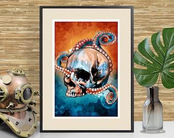 Nautical Octopus Skull Art Print, Beach House Nautical Tiki themed Home Decor, Kraken, Tiki Bar Art, Skull poster, Nautical Wall Art