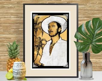 Don the Beachcomber, Donn Beach, Art Print, Tiki Bar Decor, Tiki Poster, Tropical tiki themed artwork, Bartender Gift