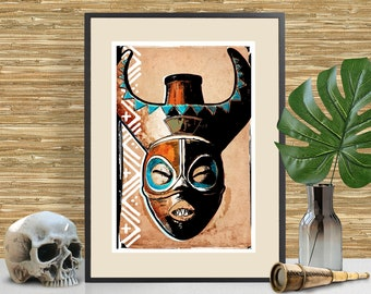Tiki Art, Disney Adventureland inspired Art Print, Tiki Bar Decor, Disneyland Tribal Mask, Adventureland themed poster, Man Cave Decor