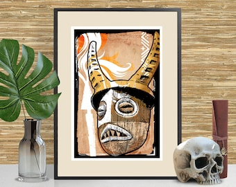 Tiki Art, Disney Jungle Cruise inspired Art Print, Tiki Bar Decor, Disneyland Tribal Mask, Adventureland themed poster, Man Cave Decor