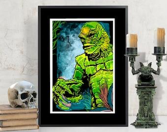 Gillman - Creature from the Black Lagoon Art Print, Movie Monster, Fan Art Illustration, Tiki Bar Decor