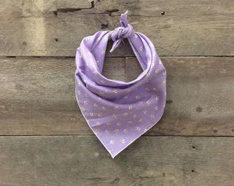 Purple Floral Tie On Dog Bandana
