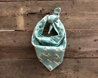 Blue Little Alpaca Llama Tie On Dog Bandana