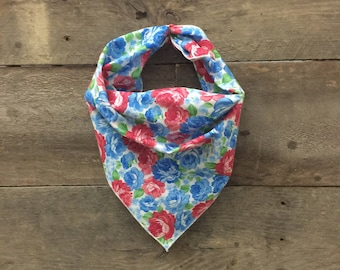 Multi Colored Floral Tie On Dog Bandana