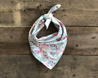 Blue, Pink, & Purple Floral Flowers Tie On Dog Bandana