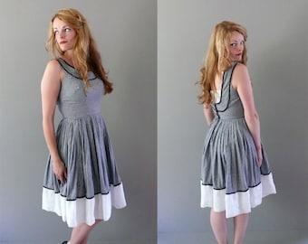1950s black and white gingham full skirted summer dress