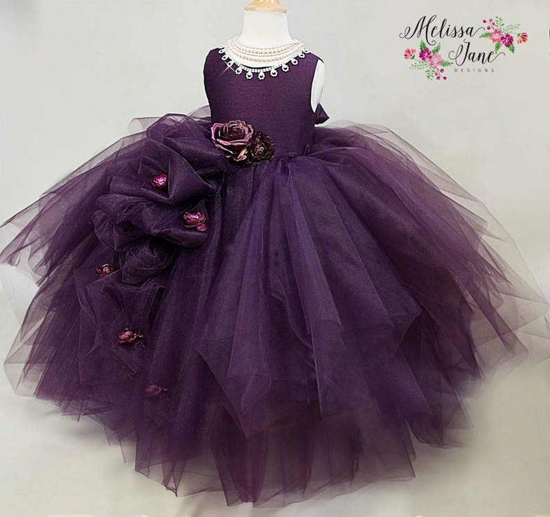 6afcbc51b Violet Couture Flower Girl Dress Girls Tulle DressGirls | Etsy