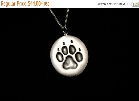 black friday sale Dog paw necklace, animal paws jewelry, animal paws, dogs foot print, animal jewelry, dog keepers sign, dog lovers, sterlin