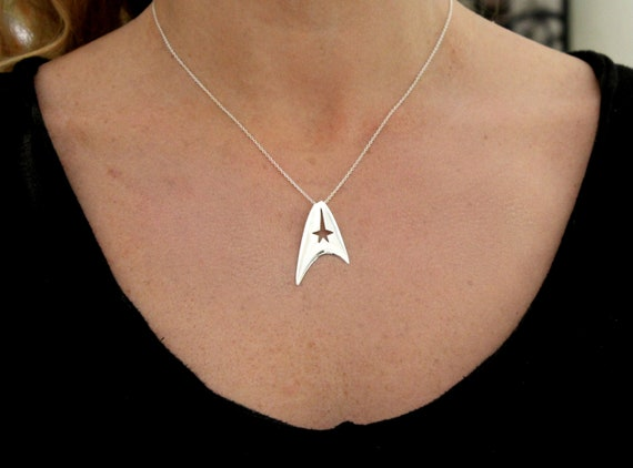 Star fleet insignia necklace, trekkies jewelry, sci-fi jewelry, handmade sterling silver mother's day jewelry