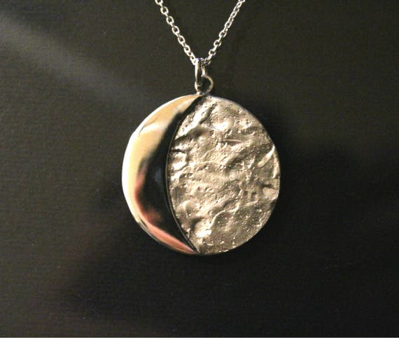 moon eclipse jewelry, moon face necklace, moon jewelry, moon quarter pendant, necklace, ski-fi jewelry, nasa jewelry, sterling silver