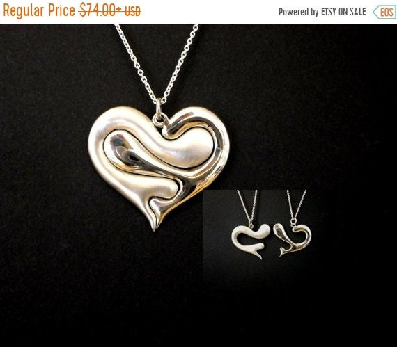 ON SALE Love heart, Love jewelry, heart necklace, puzzle jewelry, friendship, family love, sterling silver hand cerved