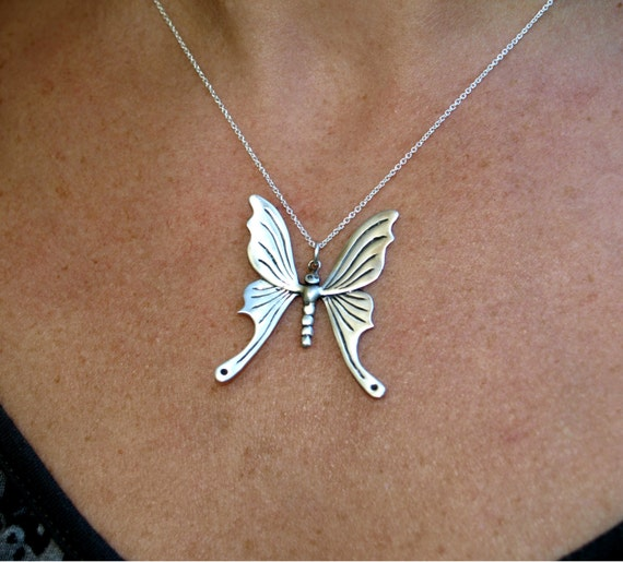 Butterfly necklace, butterfly pendant, papillon jewelry pendant, nature jewelry, freedom reborn symbol, sterling silver Valentine's Day