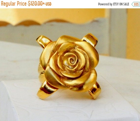 black friday sale Flower ring, gold rose ring, rosebud ring, rose jewelry, handmade romantic floral jewelry 18k goldplated sterling silver a