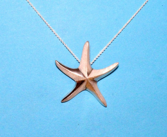 Star fish, Sea star, necklace, pendant, sterling silver, hand crafted, unique summer gift