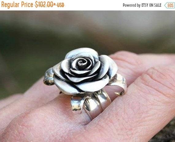 black friday sale Flower ring, rose ring, rosebud sterling silver rose handcarved handmade statement ring feminine romantic floral jewelry a