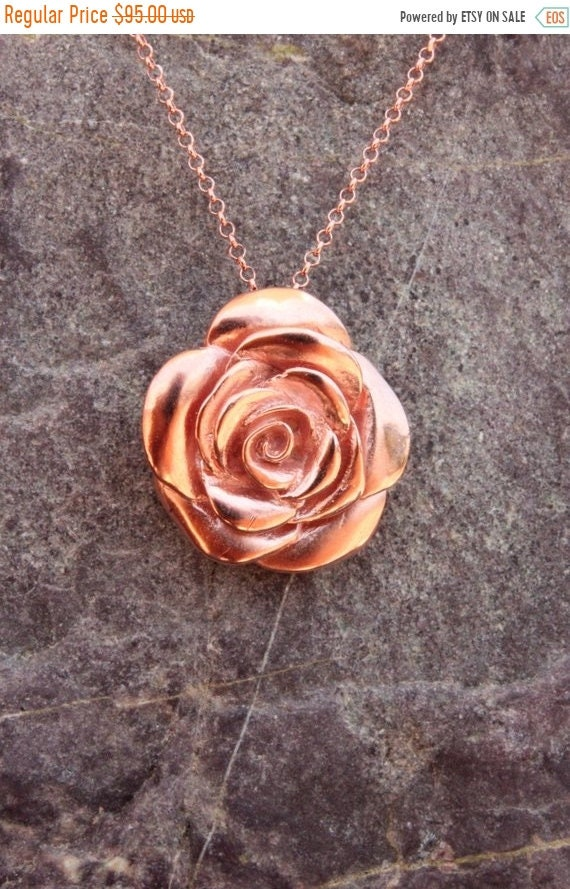 black friday sale Rose jewelry Rose flower necklace, rosebud, pink gold floral jewelry, flower jewelry, sterling silver, Valentine's day jew