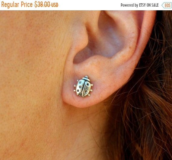black friday sale Love bug stud earrings pair, tiny ladybird stud earrings, solid sterling silver hand crafted summer jewelry