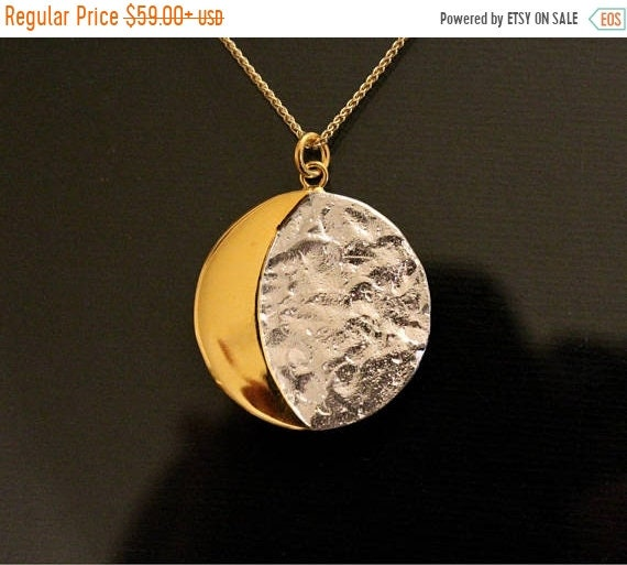 ON SALE Moon face necklace, moon jewelry, moon quarter pendant, planet necklace, ski-fi jewelry, nasa jewelry, sterling silver, mother's day