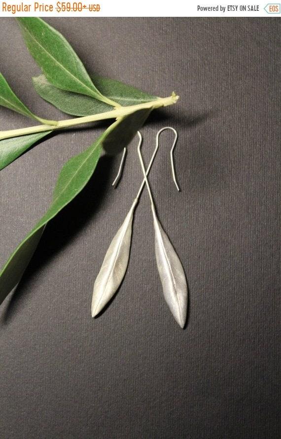 black friday sale Olive leaf earrings pair, handmade, sterling silver, greek symbol earrings, wedding earrings