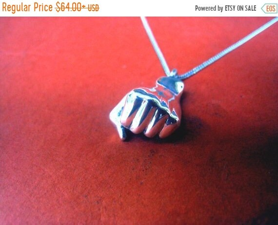 black friday sale Fist necklace, solidarity venceremos jewelry charm, clenched fist, Valentines day, sterling silver, unity sign, handmade j