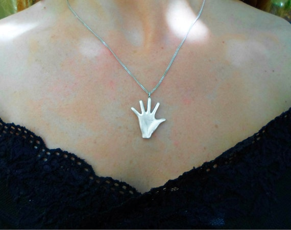 hand jewelry hand necklace take five hand palm pendant sun sign sterling silver unisex teen jewelry