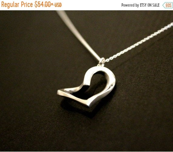 black friday sale Heart necklace , Love jewelry, contemporary heart necklace, friendship, family love, sterling silver hand carved mothers d