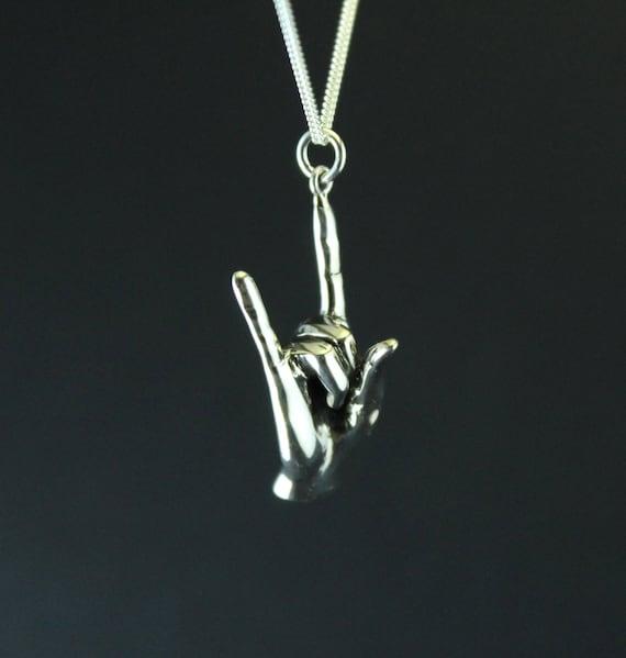 Collier de bijoux Rock   n roll signe du pendentif   Etsy 34e3c5bb6cf