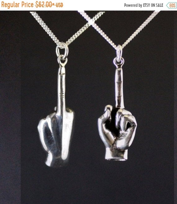black friday sale Fuck off pendant jewelry, fuck off charm, fuck you middle finger, hand gesture, up yours sterling silver, rebel jewelry mo