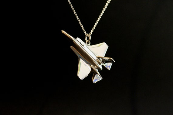 Airplane jewelry, Pilots jewelry, F35 jewelry, F35 pendant, stealth fighter charm, fathers gift, sterling silver, air force jewelry
