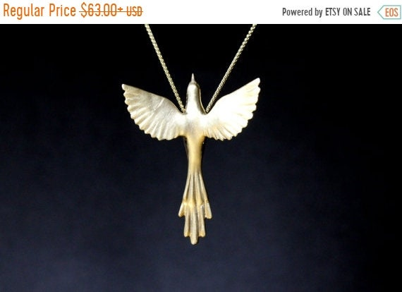 ON SALE Phoenix bird necklace birds jewelry exotic bird Greek mythology necklace sterling silver pendant open wings hand carved summer jewel