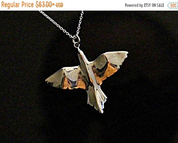 ON SALE Lucky bird necklace, bird jewelry, night bird pendant, sterling silver pendant, open wings hand carve summer jewelry gifts