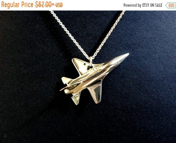 black friday sale Airplane F16 pendant jewelry, airplane jewelry, fighter pilot fathers day gift solid sterling silver hand carved US air fo