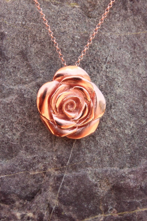 Rose jewelry Rose flower necklace, rosebud, pink gold floral jewelry, flower jewelry, sterling silver, Valentine's day jewelry