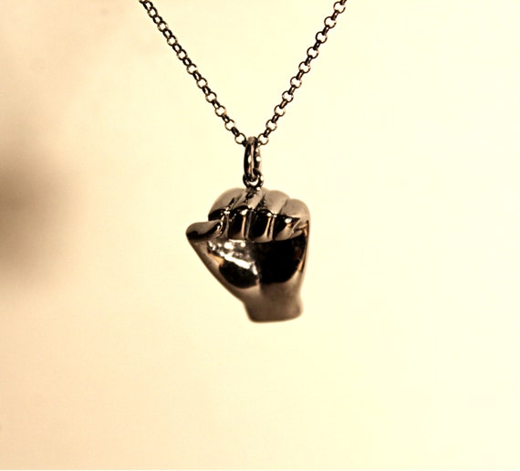 Fist necklace jewelry, power symbol necklace, solidarity, handmade, father's day gift, team work gift