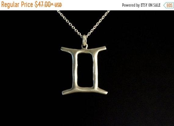 black friday sale gemini jewelry, zodiac jewelry, horoscope sign symbol necklace, sterling silver, summertime jewelry necklace