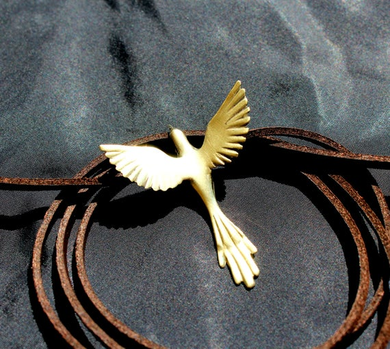 Phoenix bird necklace mothers day jewelry exotic bird, Greek mythology necklace bronze pendant, open wings hand carved mother's day jewelry