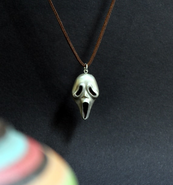 Halloween jewelry, Halloween Scream Mask, Ghost Mask, sterling silver handmade, halloween scary mask gift