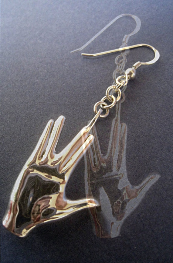 Star trek jewelry a pair of Spock hand earrings sci-fi hand salute solid sterling silver hand carved unisex gift idea