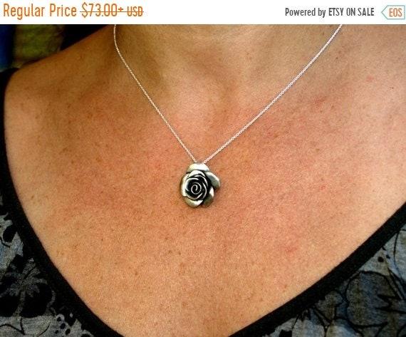 black friday sale Rose flower necklace, rosebud, floral jewelry, beauty, femininity, romance, sensitivity symbol, sterling silver summer jew