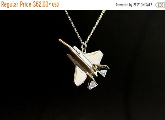 ON SALE Airplane F35 pendant jewelry, airplane jewelry, stealth fighter pilot fathers gift solid sterling silver hand carved Us air force je