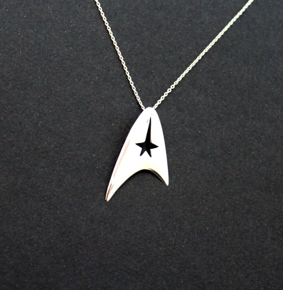 Star fleet insignia necklace, trekkies jewelry, sci-fi jewelry, handmade sterling silver mother's day jewelry